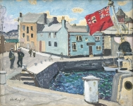 Harry Rutherford - Blue Harbour with Red Flag