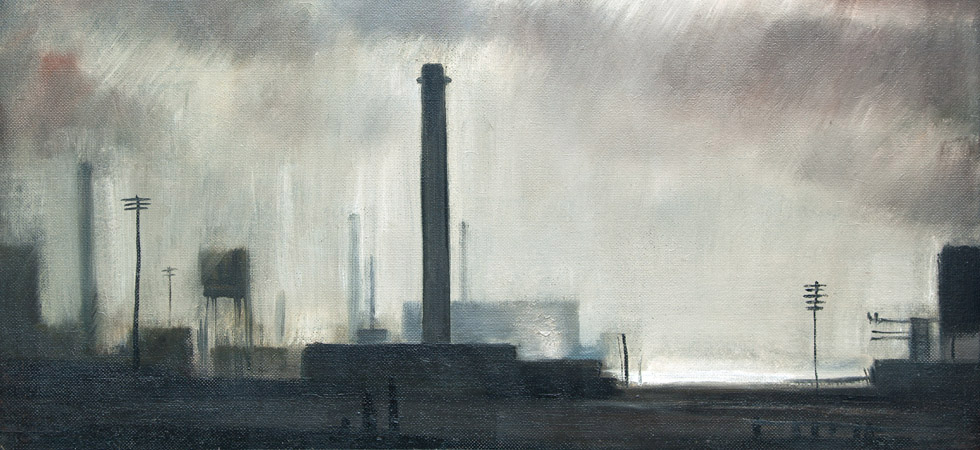 Major Industrial Landscape With Chimney And Telegraph Pole