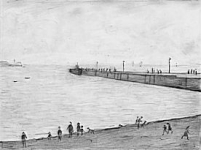 L.S. Lowry - The Ferry Slip at Knott End on Sea